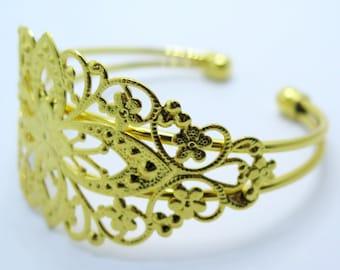 Filigree Cuff Bracelet, Gold Toned Brass Bracelet, Brass Cuff Bracelet, Adjustable Bracelet, Diy Jewelry Supplies, ZARDENIA
