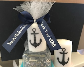 Nautical Baby Shower, Bridal Shower Favors,Nautical Themed Party favors, Anchor Votive  Candle, With Personalized Ribbon