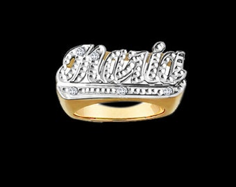 "Personalized Name Ring with Diamond Cut ""Maria"""