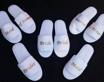 Bride Slippers - Bridesmaid Slippers - Personalized Slippers  - Slippers- Wedding Slippers - Bridal Slippers - Bridesmaid Gift - Weddings
