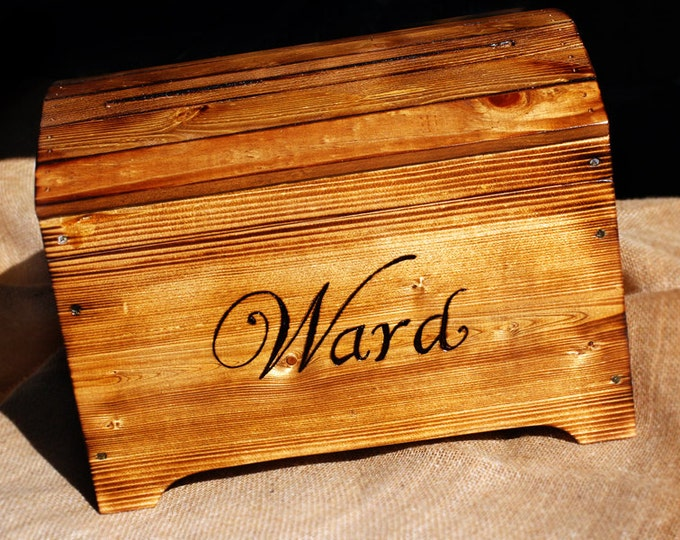 Medium Rustic Personalized Card Box for Wedding Cards with card slot Personalized with Last Name