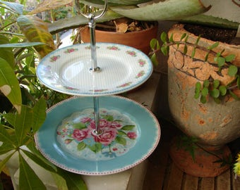 shabby pink roses & turquoise blue polka dots,small porcelain ceramic,2 tier,sweet,muffin,cake stand