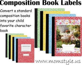 Calico families Composition book label school supply - Rabbit