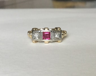 Ruby diamond Art Deco ring 10k gold