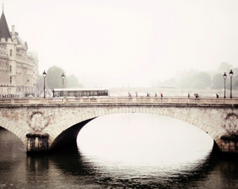PARIS Bridge Photo, Pont au Change in Paris, Paris Photography, Vintage Paris, The Seine in Paris Photo, Grey Paris Photo, Travel Photo