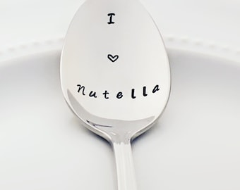 Nutella Spoon | I (heart) Nutella | Stainless Steel Teaspoon | Stamped Silverware | Stamped Spoon | Foodie Gifts for Chocolate Lovers