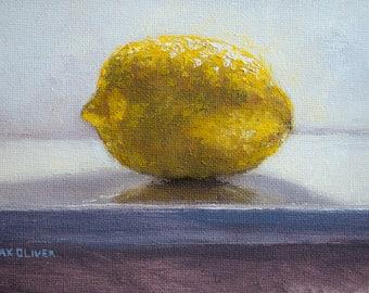 Lemon on Shelf, Original oil painting by Max Oliver