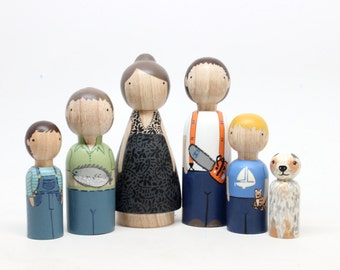 Custom Family Portrait of 6 Hand-Painted Dolls Wooden Dolls Peg Dolls Goose Grease Cake Toppers Wooden Cake Toppers Family Portrait