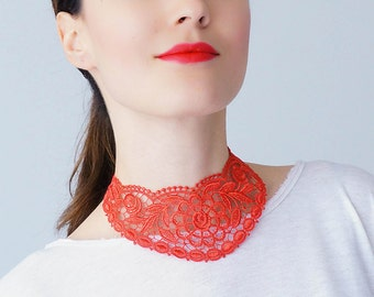 Red Necklace Venise Lace Necklace Lace Jewelry Bib Necklace Statement Necklace Body Jewelry Fashion Accessory