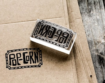 Popcorn Rubber Stamp - Southern Rubber Stamp - Hand Lettered Popcorn Stamp