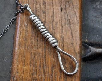 Silver Hangman's Noose Necklace Hangmans Knot Pendant Necklace 137