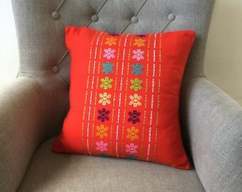 Orange bright tangerine handmade woven cushion cover