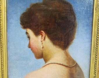 Beautiful Antique French Oil Painting 'Lost Profile' Portrait Vintage 19th Century