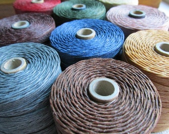 PICK 3 Colors 7 Ply linen, Choose 5, 10 or 15 yards of each, 7 Ply Waxed Irish Linen Thread, 7 ply linen, Waxed Linen Cord, Bookmaking Linen