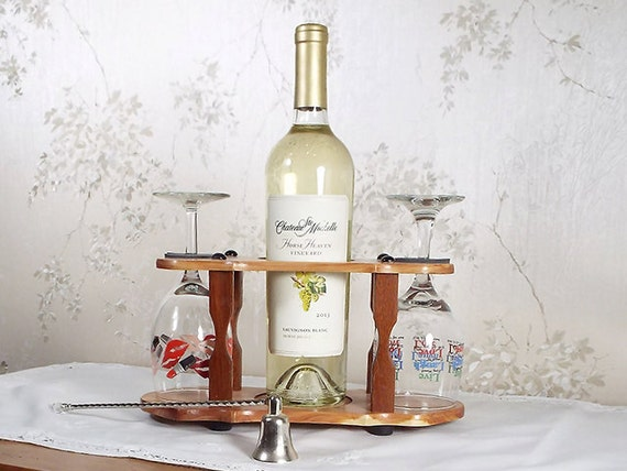 7 - Wine Bottle (1) & Stemmed Glass Caddy (2 station) Full 750ml