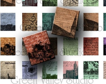 INSTANT DOWNLOAD Art Vintage Antique Postcards Digital Images Collage Sheet for Scrabble Tile Pendants .75 x .875 Inch (S8)