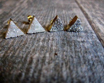 Triangle Studs Gold,Stud Earrings Triangle,Druzy Earrings,Druzy Stud Earring,Druzy Studs,Druzy Post Earring,Gold,Gold Triangle Studs,Studs