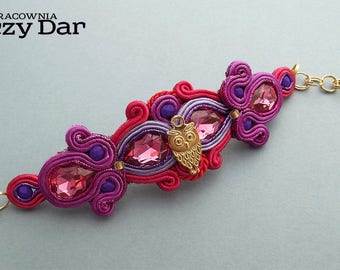 Elegant soutache bracelet with Swarovski crystals and  beautiful owl