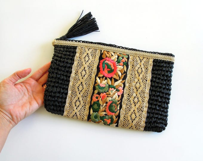 Black evening pouch bag  BoHo style soft clutch bag ideal holiday companion  Hand decorated gipsy style straw clutch bag 100% Unique