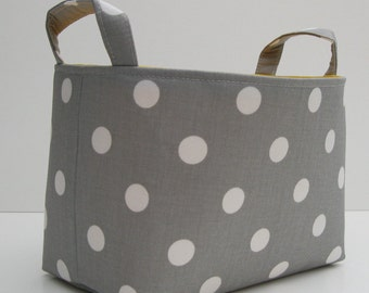 Fabric Basket Organizer Storage Container Bin - Gray with White Polka Dots
