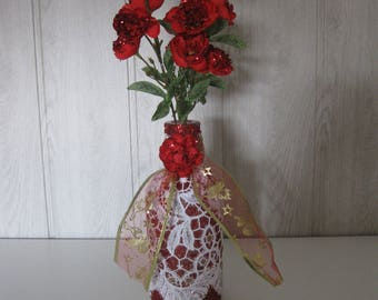 glitter lace glass vase/bottle and three flower stems