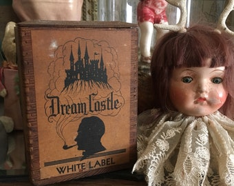 Anything To Sell Tobacco Antique Wooden Dream Castle Tobacco Dovetailed Box