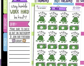 Payday Beedoo BD-005 | 24 Hand Drawn Planner Stickers