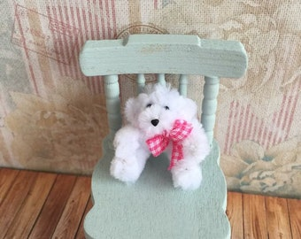 Miniature Vintage Style WhiteTeddy Bear with Hot Pink Gingham Neck Bow