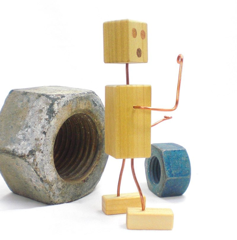 Toys For Geeks : Wooden robot toy geek gift wood