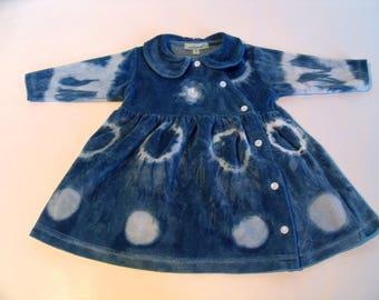 """Velvet Baby dress in 3 months Indigo hand dyed """"So Sweet 1"""""""