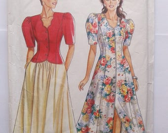 Sewing pattern vintage 80s 90s dress skirt jacket puffy sleeves New Look 6527