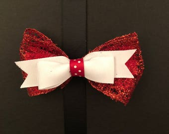 Red and White Bow with Red Polkadots