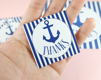 10 Stickers! Thank you sticker, party favors, anchor, sailor, birthday party, Set of 10