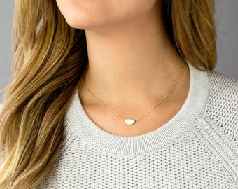 Dainty Half Moon Necklace, Crescent Moon Necklace, Hammered Moon Necklace, Delicate Layering Necklace, Gold, Silver, Rose Gold, Gift for Her