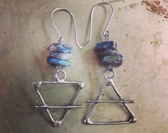 Labradorite Alchemy Earrings Earth and Air Symbols