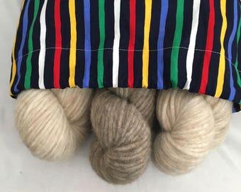 Knitting Project Bag Large Drawstring Bag Striped Bag No Snag Drawstring Bag for Knitting Projects Crochet Project Bag Large Free Shipping