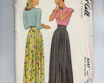 1940s Vintage Sewing Pattern McCall McCalls 6347 Misses Long Skirt Evening Length Waist 24 Hip 33 40s 1946