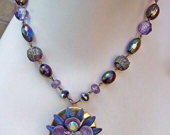 Cool Lagoon Enamel Flower Vintage Locket Necklace -- OOAK