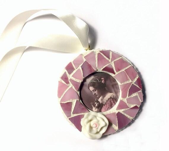 Mosaic White Pink Flower Frame Ornament, Mosaic Rose Frame Ornament, Mosaic Frame Ornament, Romantic Rose Mosaic Ornament, Hanging Frame