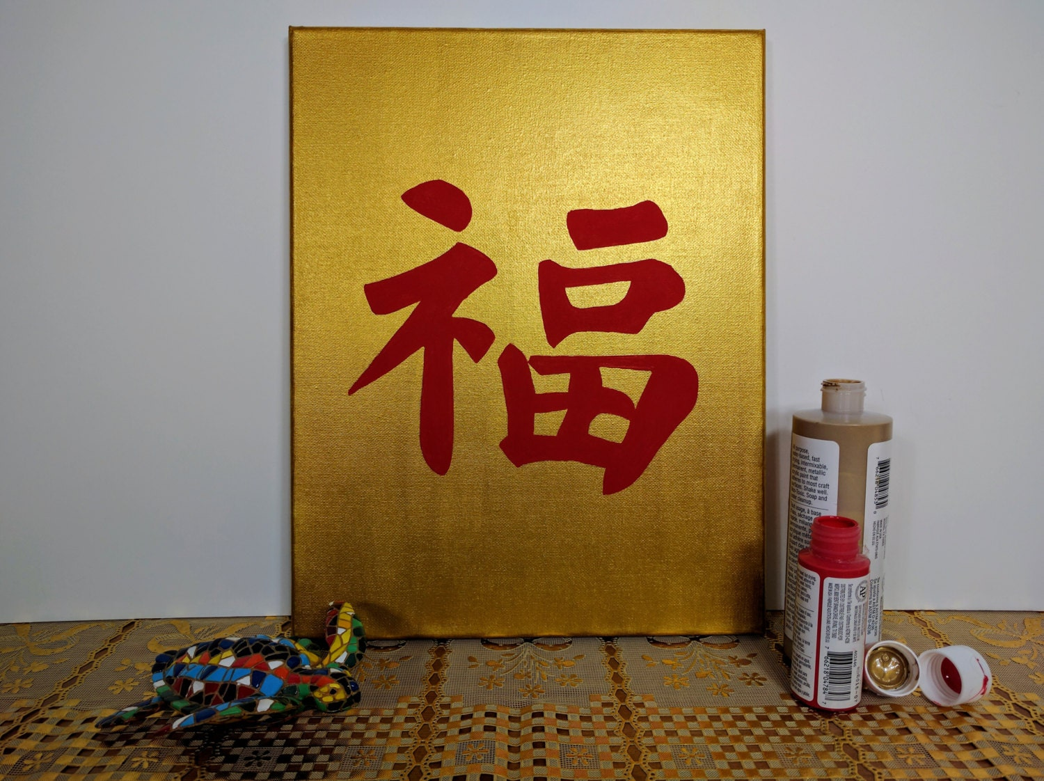 Good Luck Gold & Red Chinese Calligraphy Decoration Wall