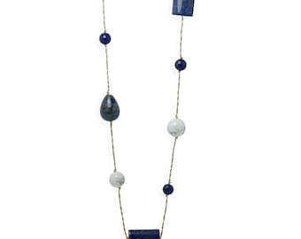 Lapis Lazuli, Onyx and Howlite 100 cm Long Necklace