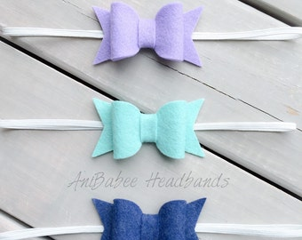 Felt Baby Bow Headband Set, Baby Headband, Baby Bow Headband Set, Baby Headband Set, Bow headband set, felt headband, bow headband