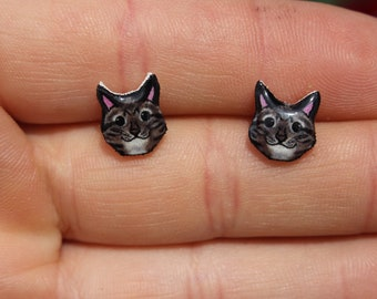 Tabby cat Earring : great gift for cat lovers Hypoallergenic stainless steel posts tabby cat memorial loss