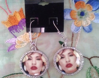 Selena diamond earrings with Bling!!! Brand new! Selena Quintanilla-Perez jewelry by SelenaBoutique
