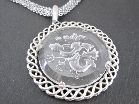 Crown Trifari Necklace, Zodiac Aquarius, Glass Intaglio, Silver Tone Metal, Vintage Trifari