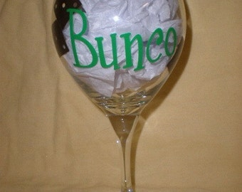 Bunco Wine Glass with Dice and Personalized