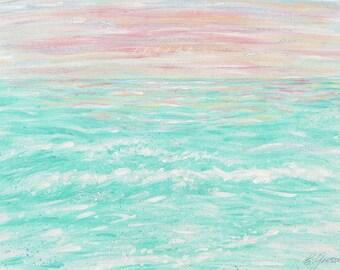 Nursery Wall Art, Pink & Aqua, Girls Room, Tropical Art, Ocean Art, Wave Art, Bedroom, Sea Art,  Beach Art, Coastal Decor, Cottage Decor