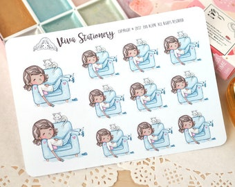 Kawaii Girl Lazy Day, Chill out, Nap on the Couch ~Vashti~ For your Life Planner, Diary, Journal, Scrapbook...
