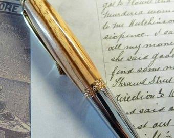 Hand Turned Zebrano Sierra Style Pen