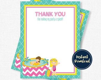 Pool Party Thank You Cards, Swimming Thank You, Birthday Thank You Card, Pool Party Thank You Notes, Printable INSTANT DOWNLOAD